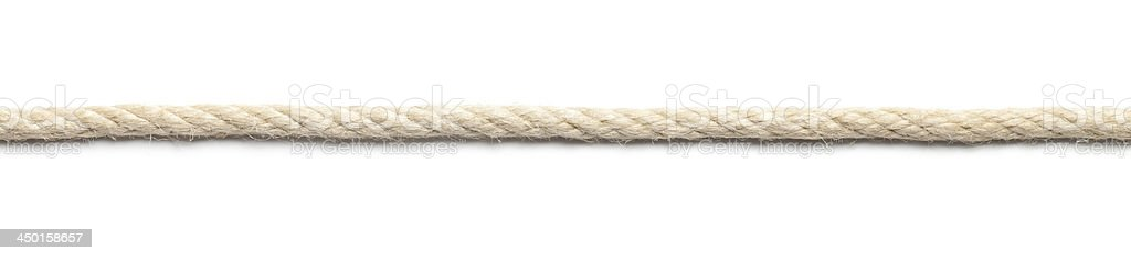 A long image of thick rope, isolated on a white background stock photo