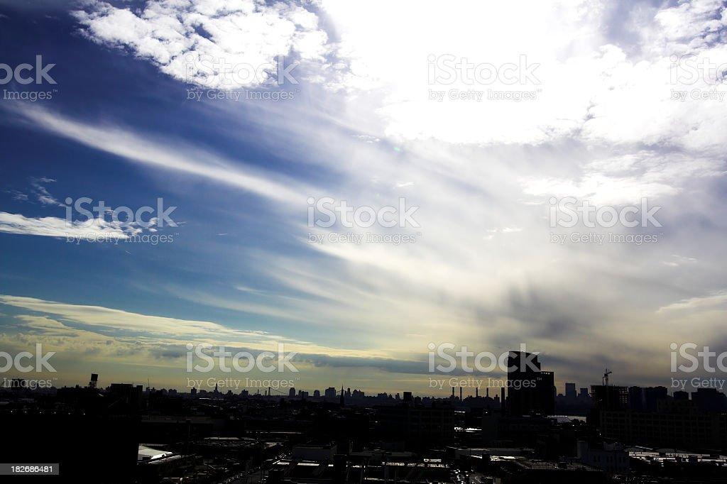 Long Island City Skyline Silhouette stock photo
