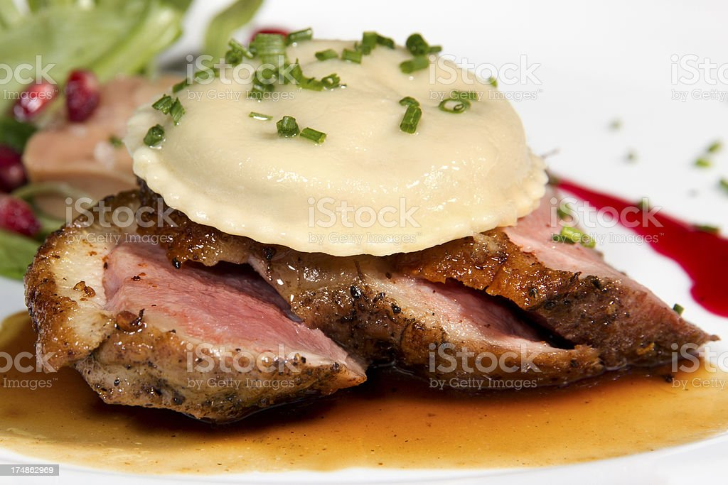 Long Island Duck and Ravioli Close Up stock photo