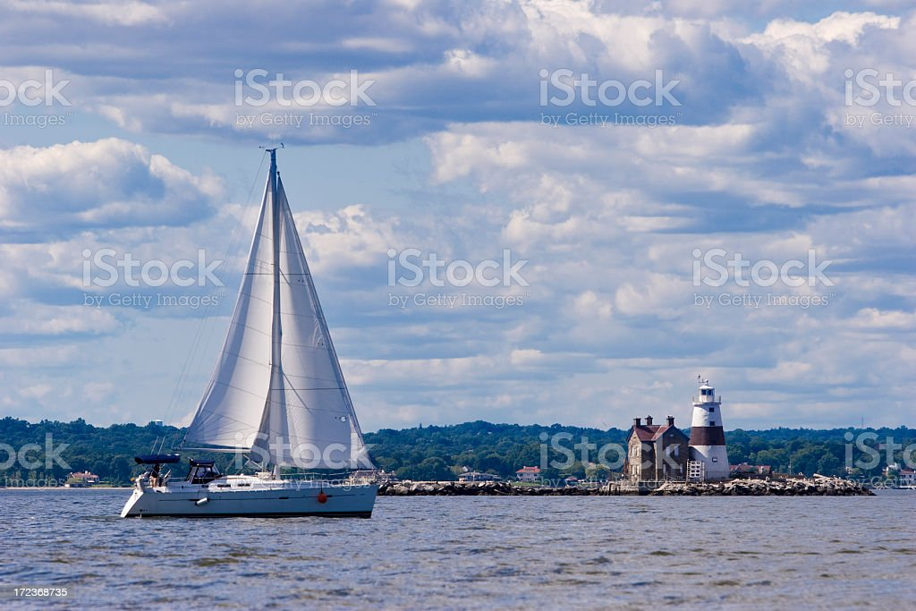 Long Island Sound: Sailboat and Lighthouse stock photo