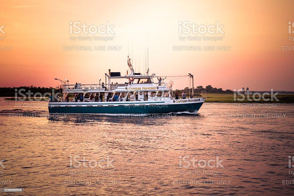 Long Island Sunset Cruise stock photo