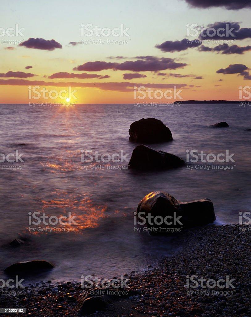 Long Island sunset stock photo