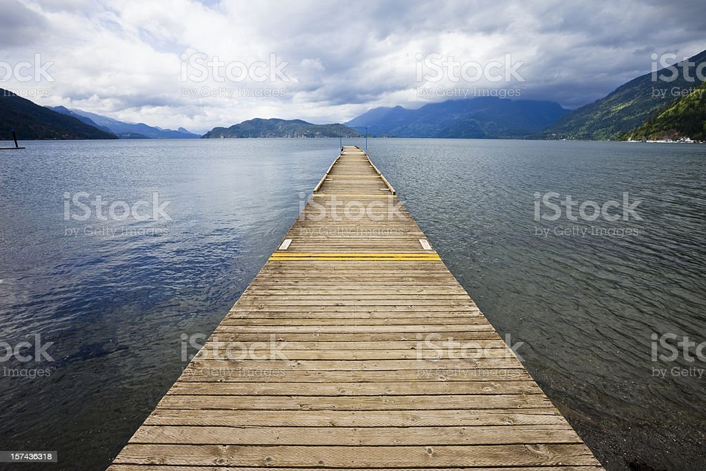 Long Jetty at Mountain Lake stock photo