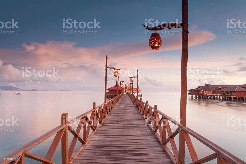 Long Jetty in Mabul Island Semporna, Sabah stock photo