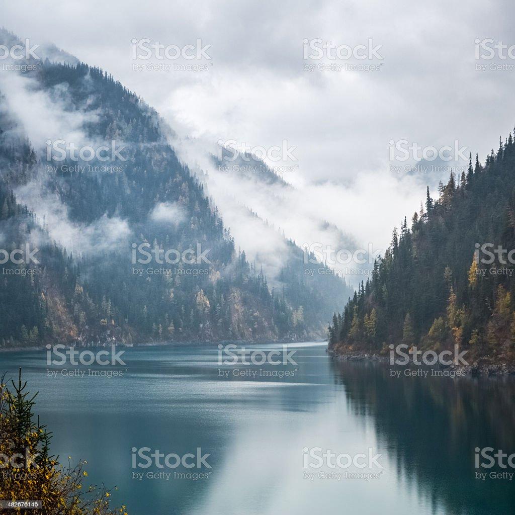 long lake in jiuzhaigou stock photo