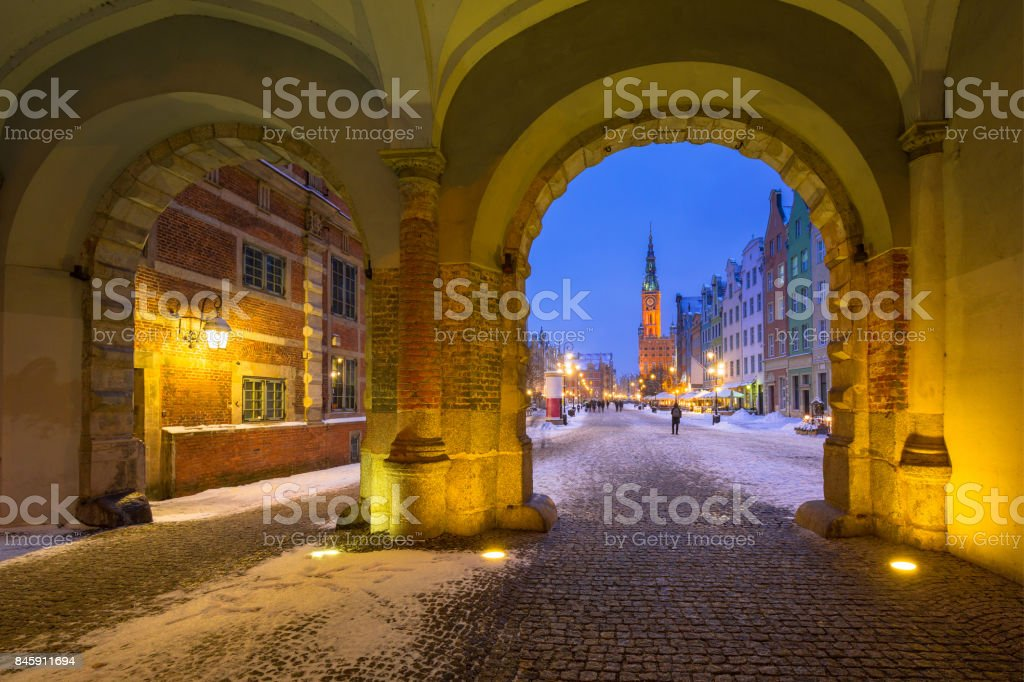 Long lane in the old town of Gdansk in snowy winter stock photo