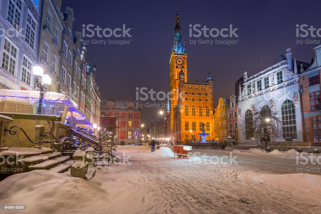 Long lane in the old town of Gdansk stock photo