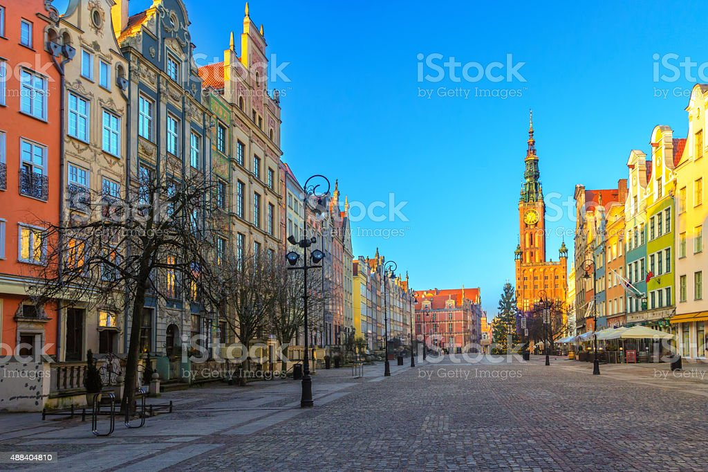 Long Lane street in Polish Gdansk during Christmas time stock photo