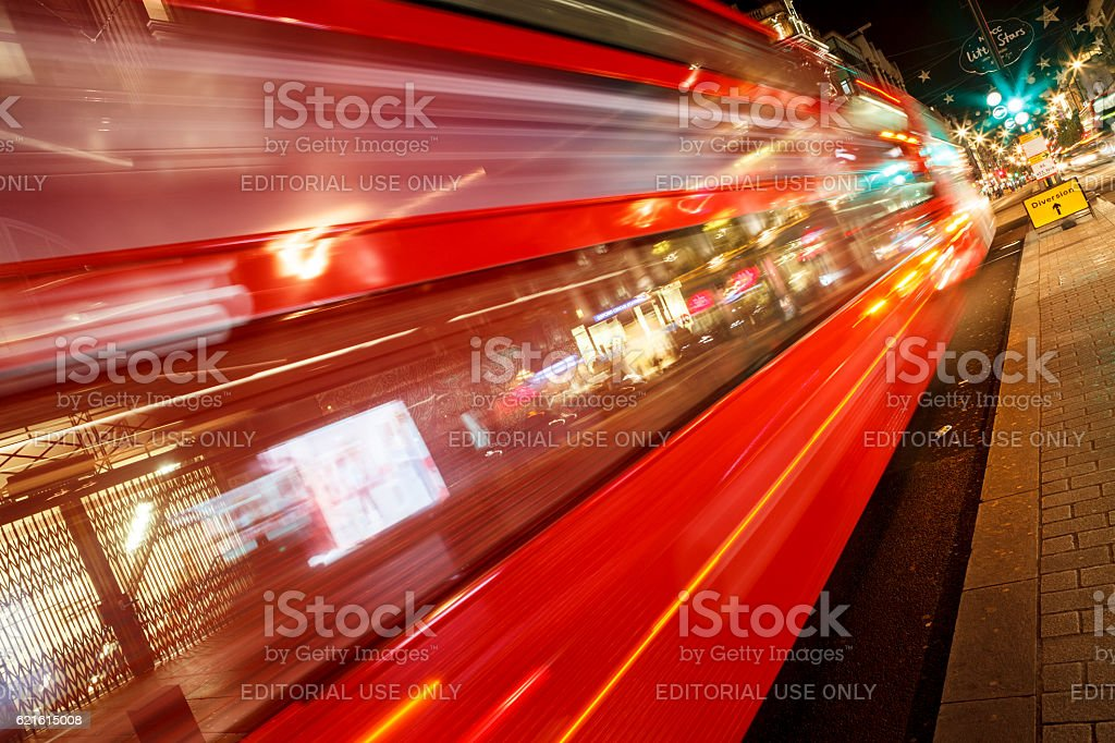Long light trails on the Oxford Circus, London stock photo
