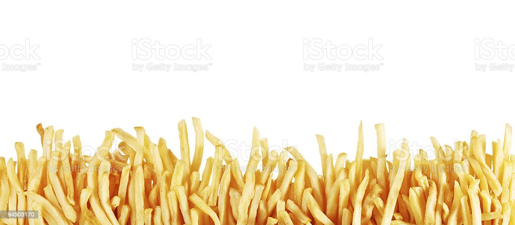Long line of fried potatoes stock photo