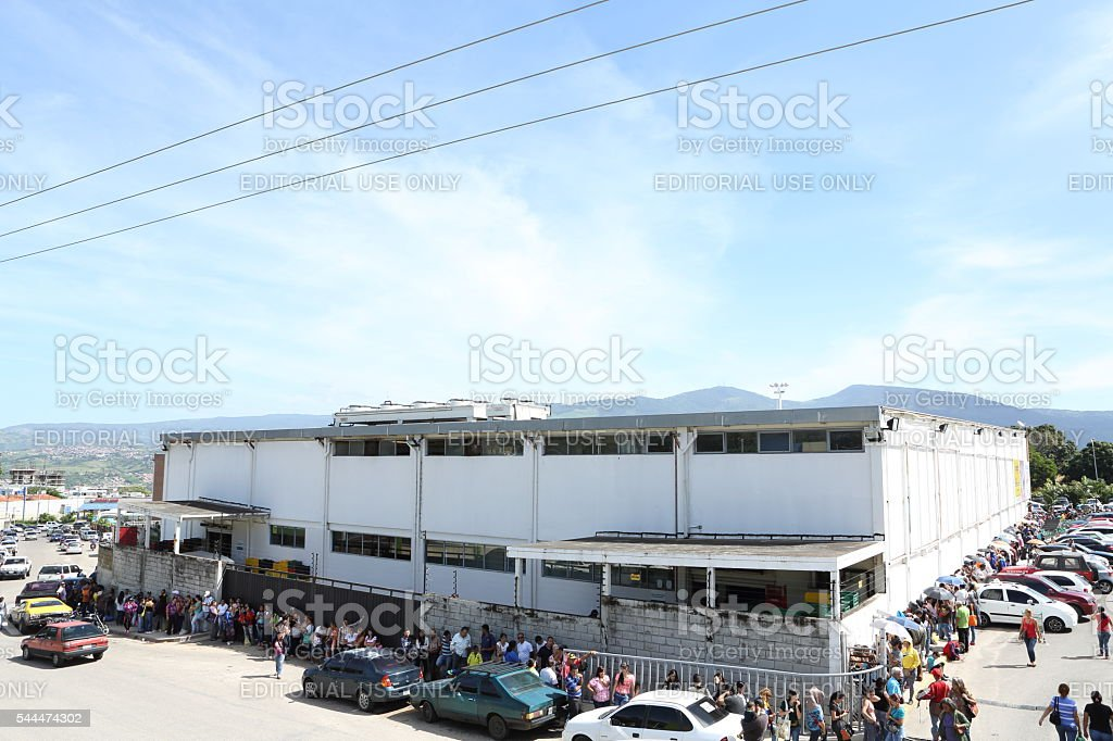 Long Line of People to Buy Food stock photo