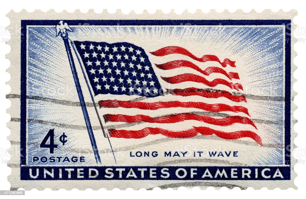 'Long May it Wave' American 48 Star Flag Postage Stamp stock photo