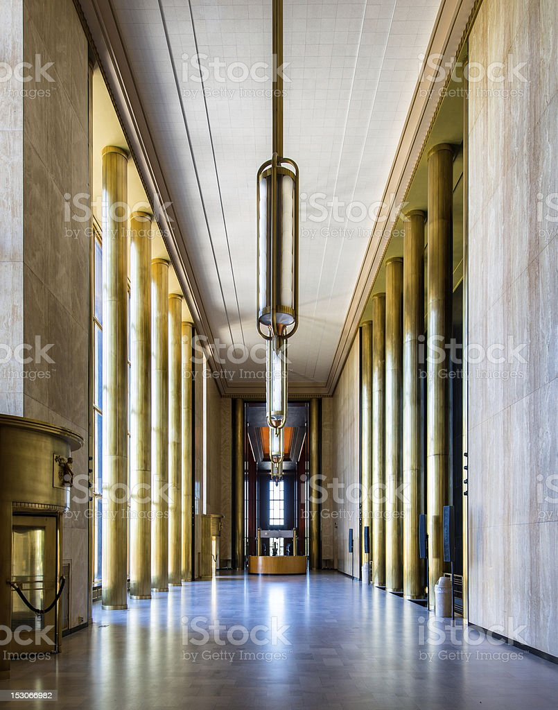 Long memorial hall with sunlight stock photo