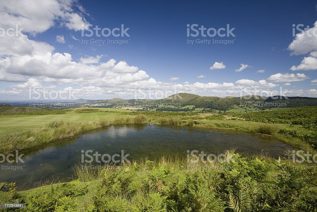 Long Mynd View with Pond stock photo