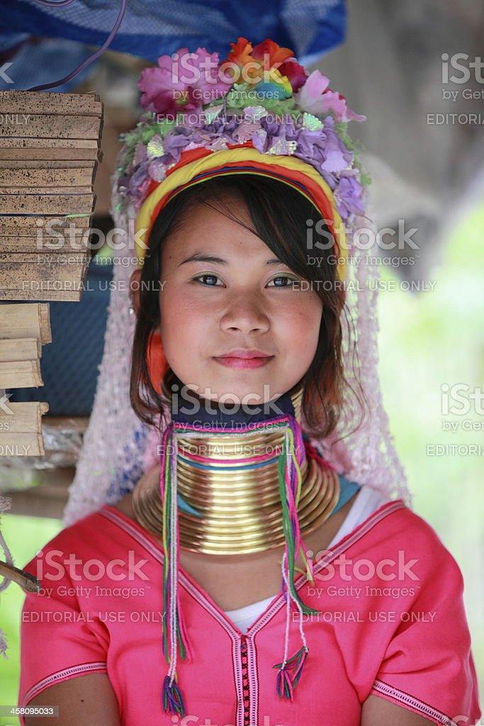 Long neck tribe woman in Mea Hong Son, Thailand stock photo