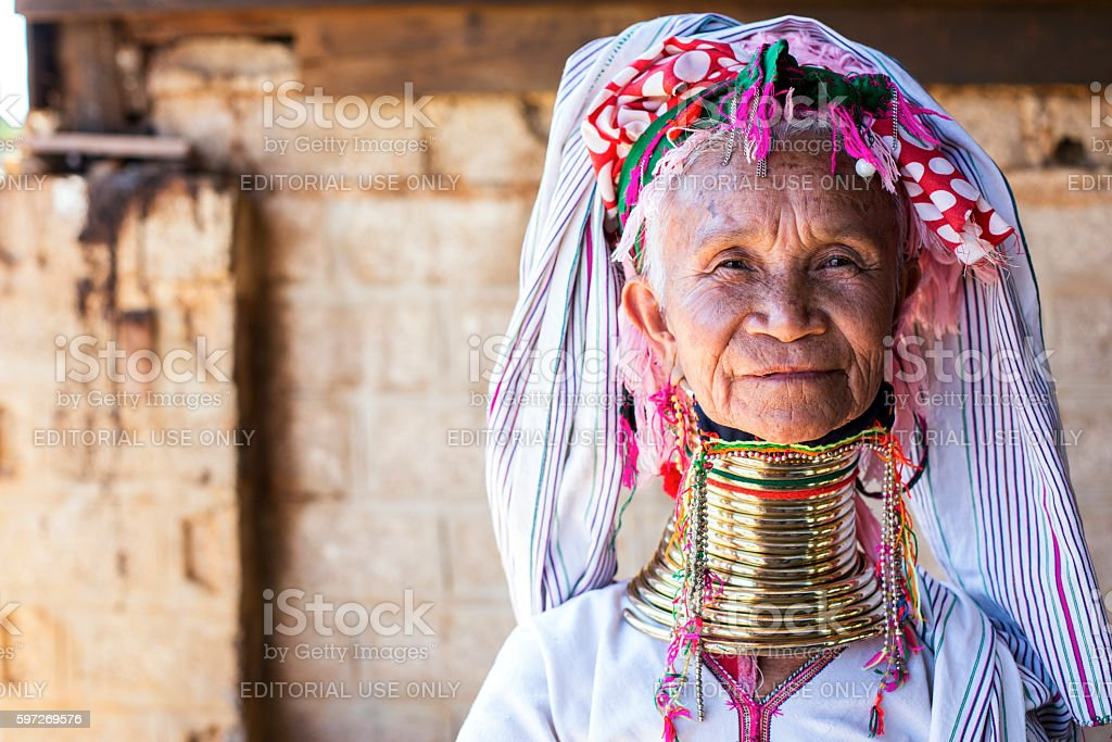 Long neck woman from the Padaung tribe in Loikaw, Myanmar. stock photo