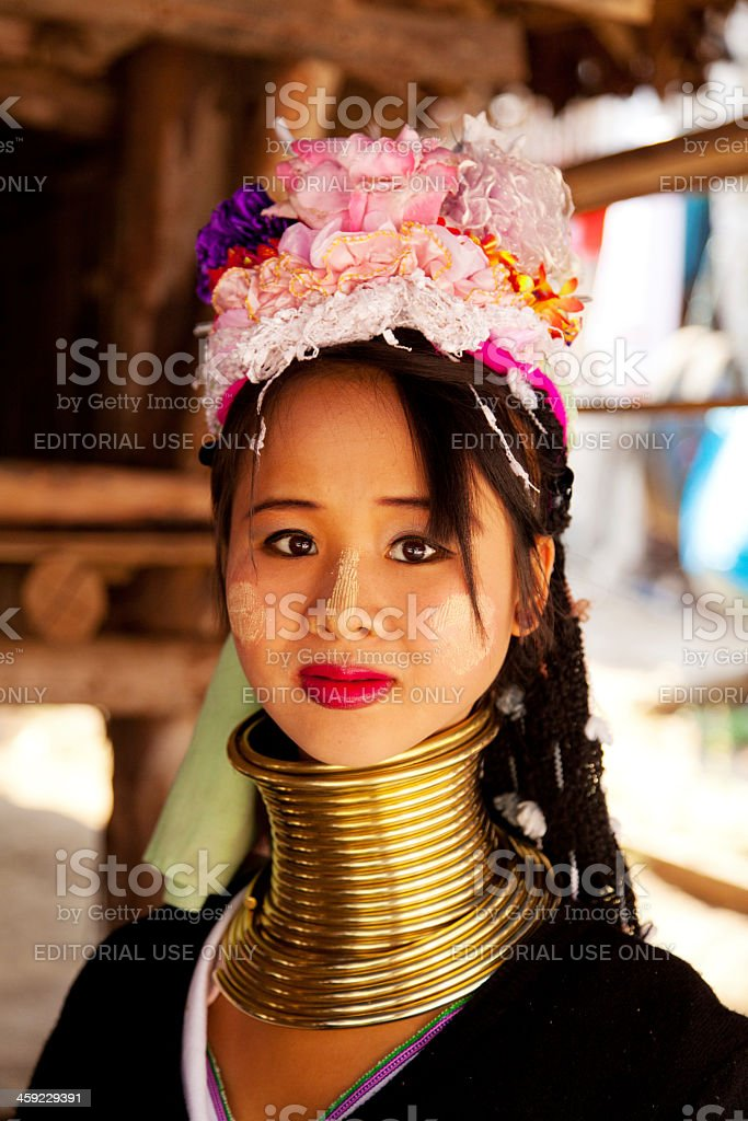 Long neck woman in Thailand stock photo
