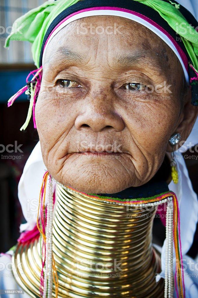 Long neck woman portrait at Inle Lake, Myanmar royalty-free stock photo
