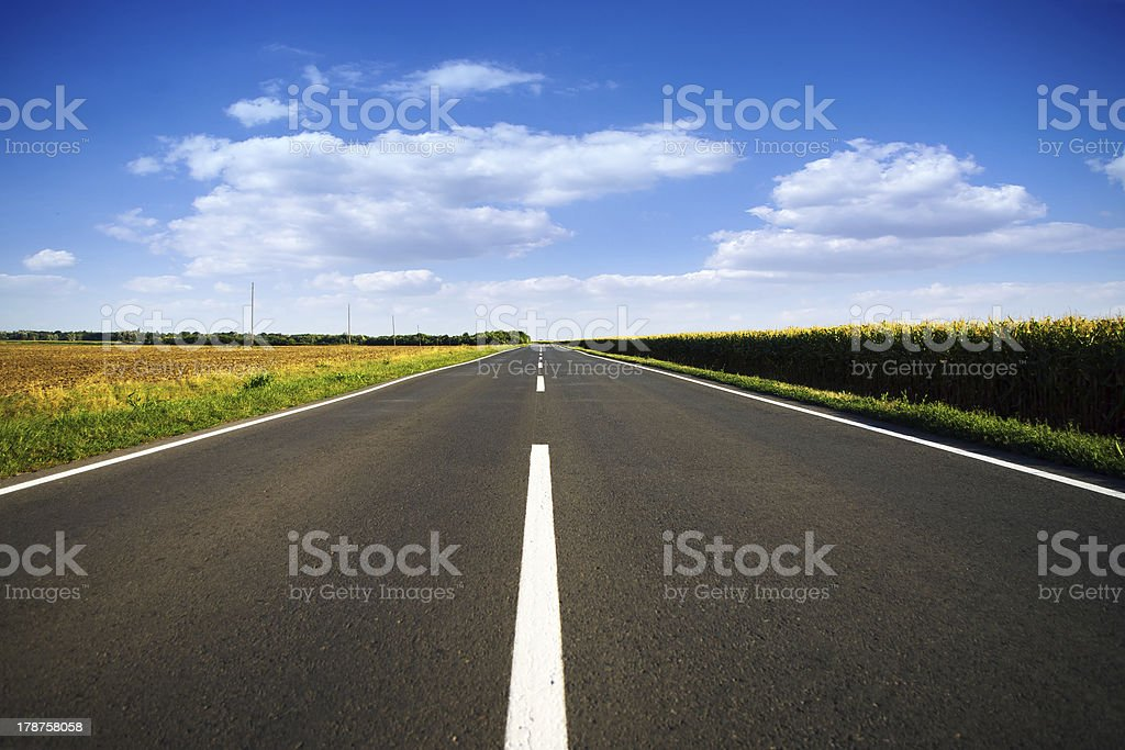 Long new empty road stock photo