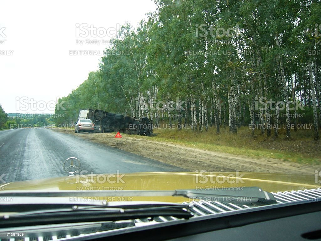 Long non traffic highway and road accident royalty-free stock photo