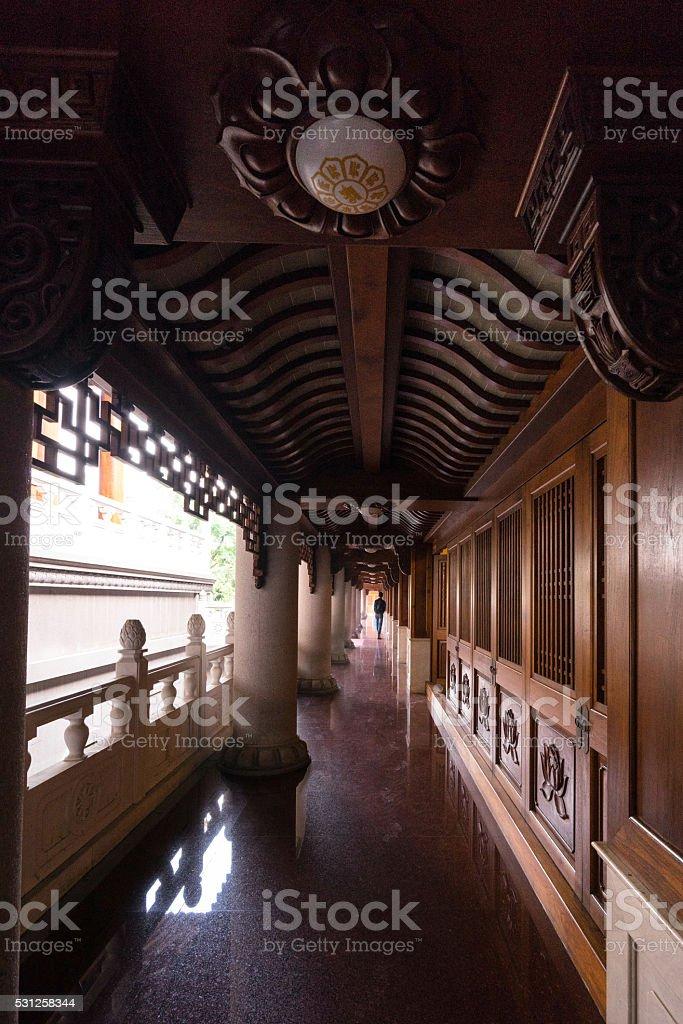 long path in Jing an temple stock photo