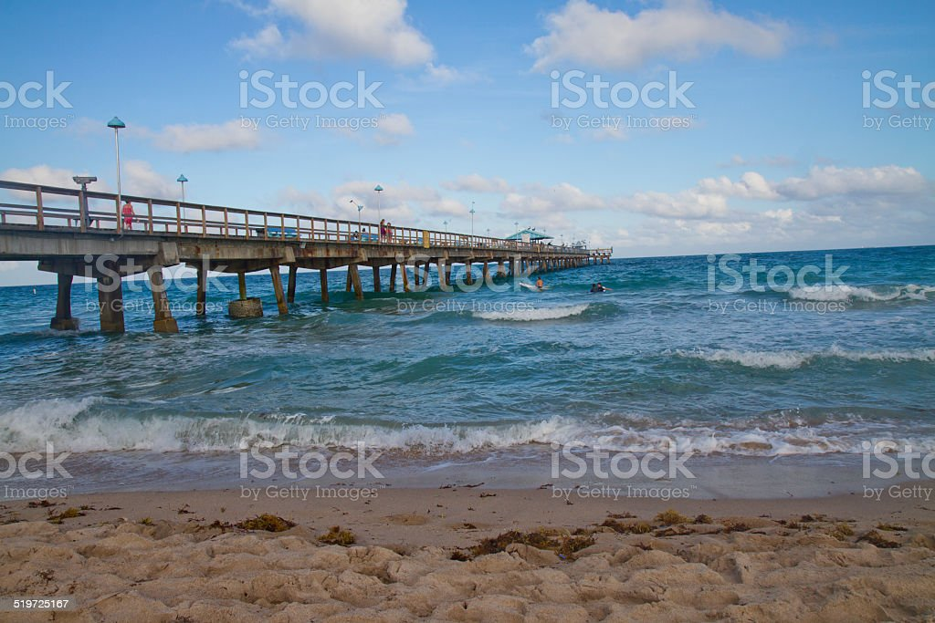 Long pier in the sea stock photo