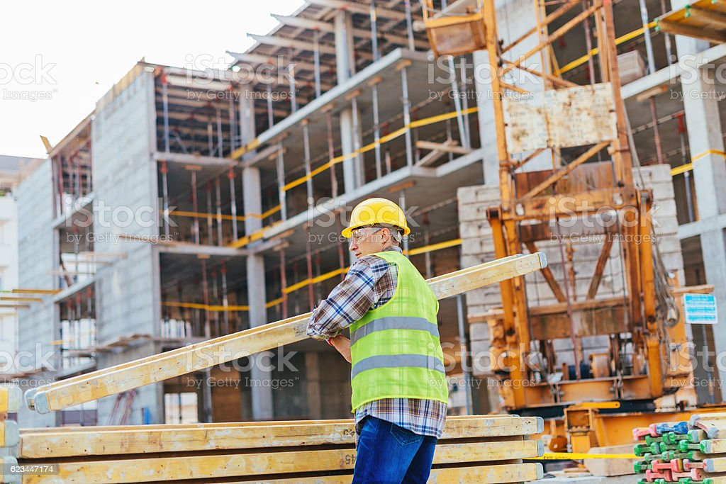 Long plank support for concrete and armature stock photo