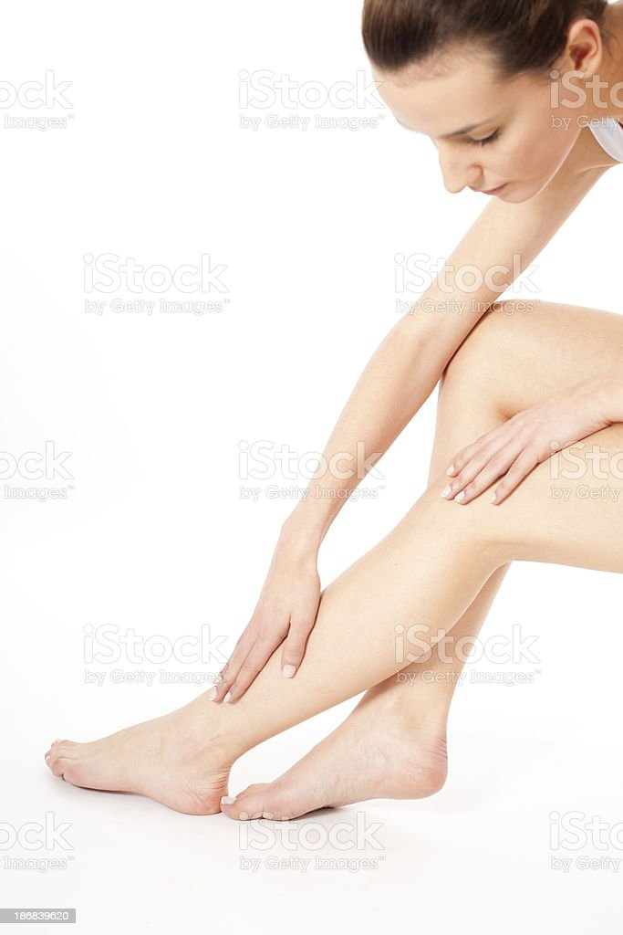 Long pretty woman legs isolated on white royalty-free stock photo