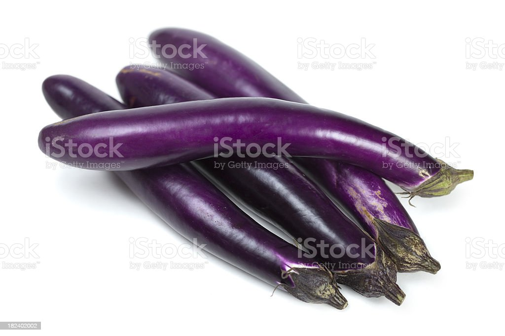 Long Purple Japanese Eggplant Vegetables royalty-free stock photo