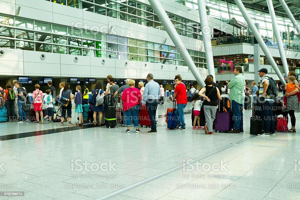 Long queue at check-in stock photo