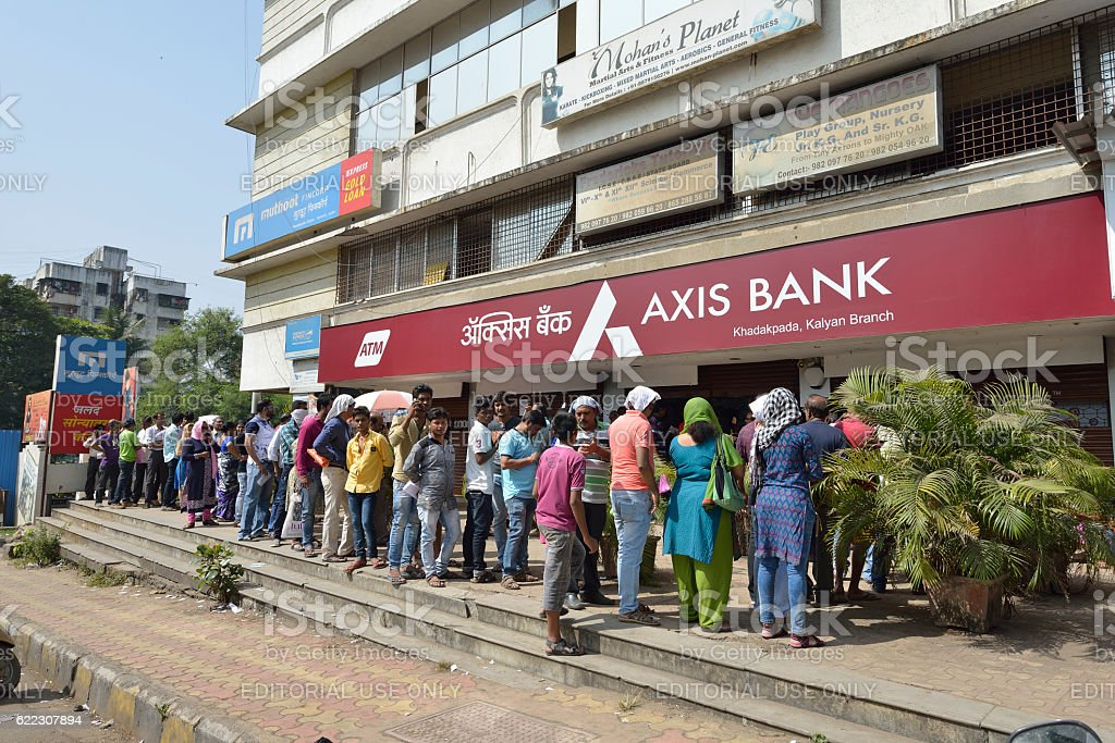 Long Queue Outside Axis Bank to Withdraw Money stock photo