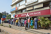 Long Queue Outside Axis Bank to Withdraw Money