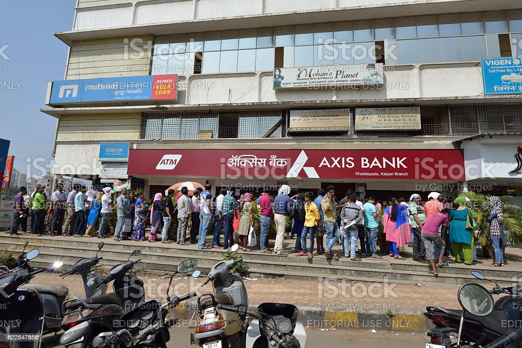 Long Queue Outside Axis Bank to Withdraw New Indian Currency stock photo