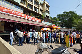 Long Queue Outside Bank to Withdraw New Indian Currency