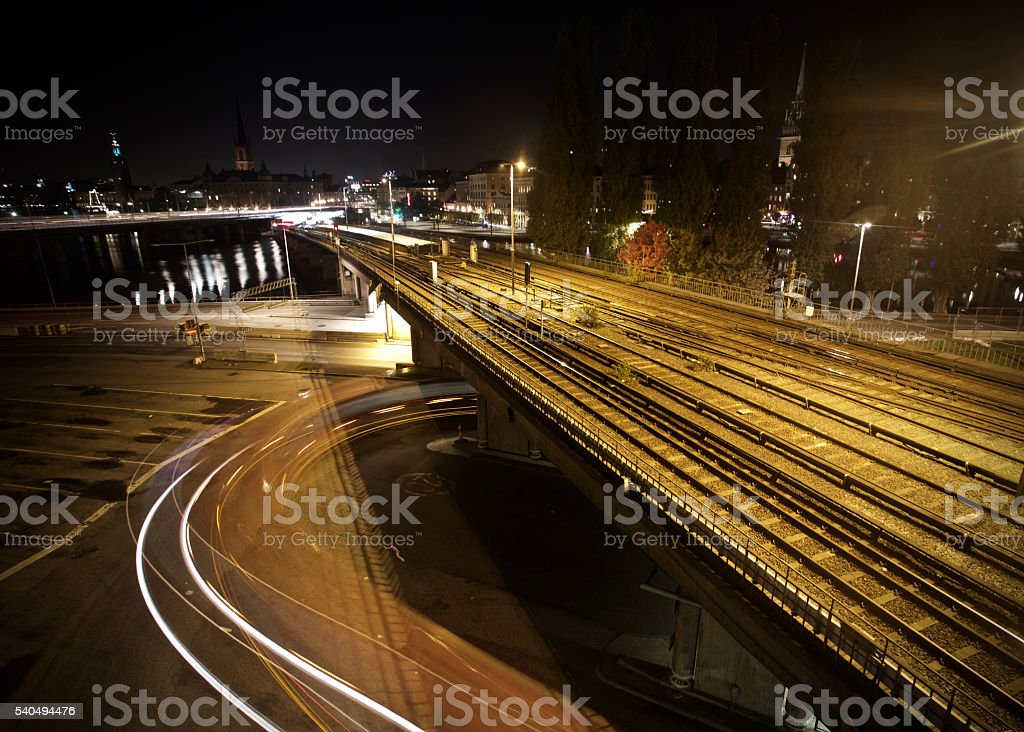 Long rail at night stock photo