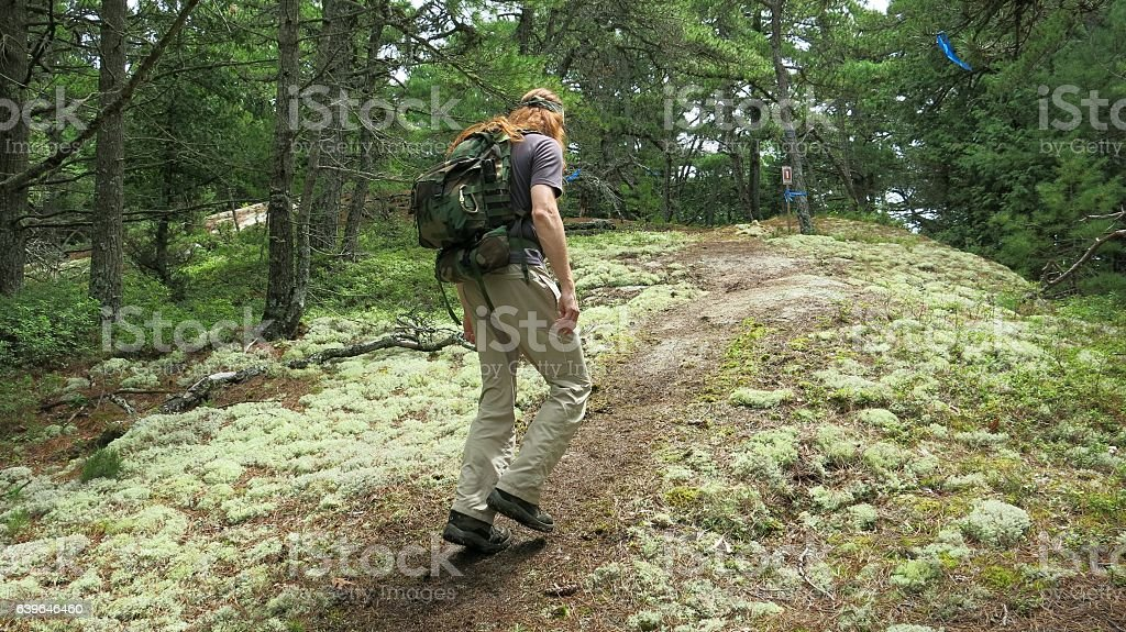Long Red Hair Hippie Outdoor Hiker, Acadia National Park, Maine stock photo
