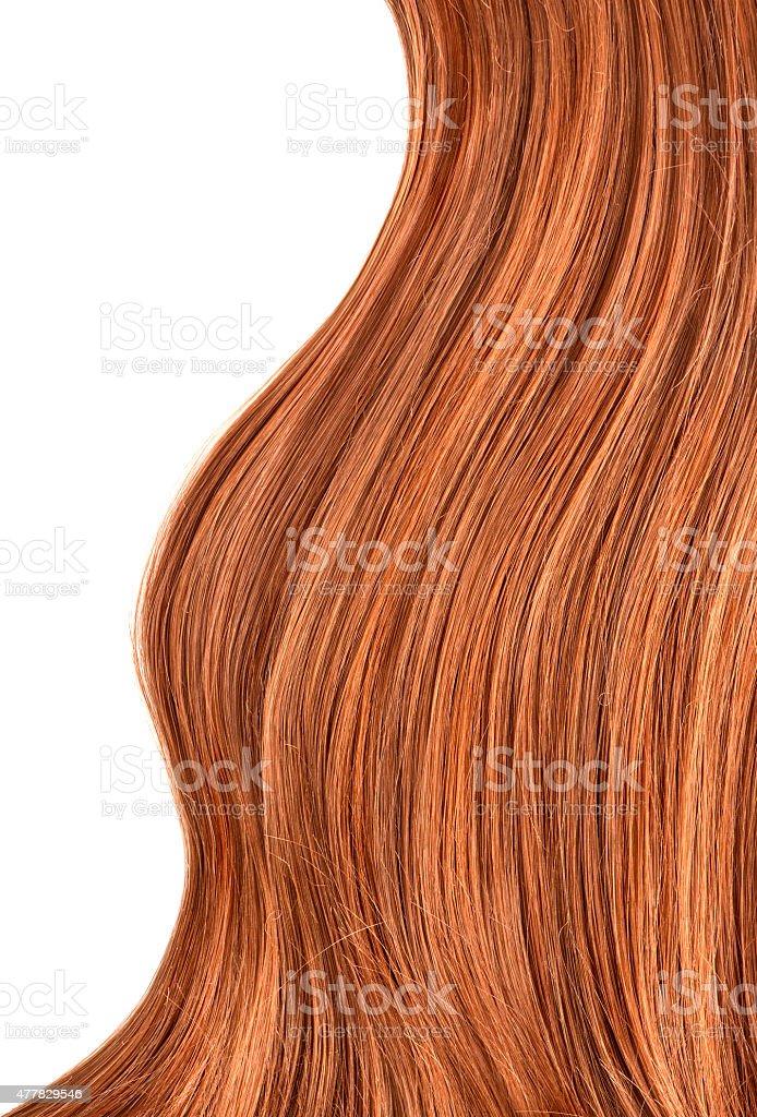 Long red human shiny hair stock photo
