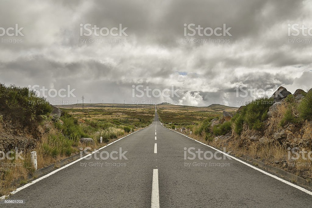 Long road on Madeira royalty-free stock photo