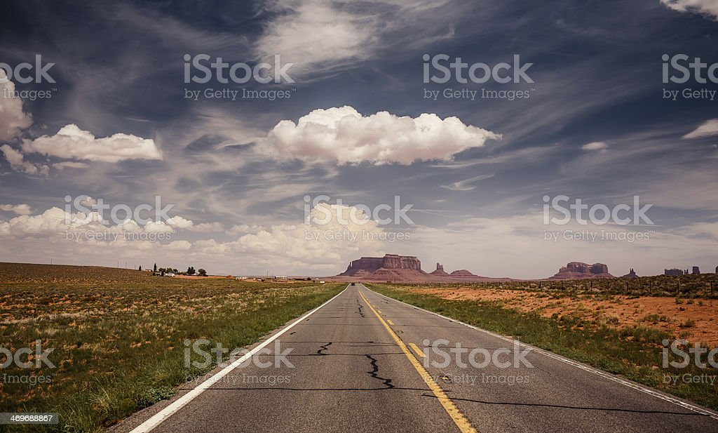 Long road to Monument Valley stock photo