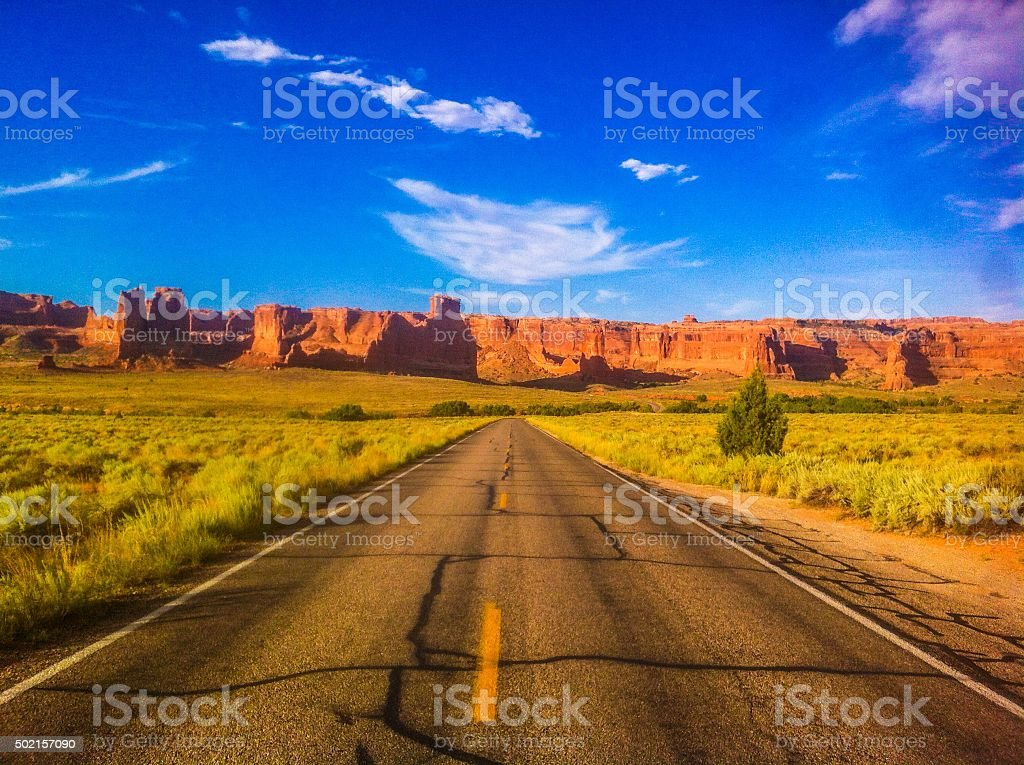 Long Road to Nowhere stock photo