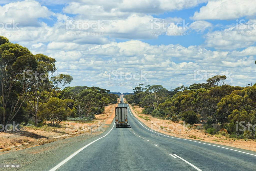 WA Long road truck van stock photo