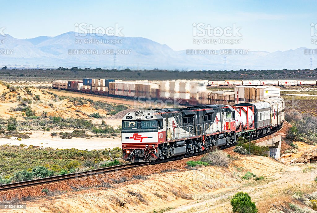 Long SCT interstate freight train in outback landscape stock photo
