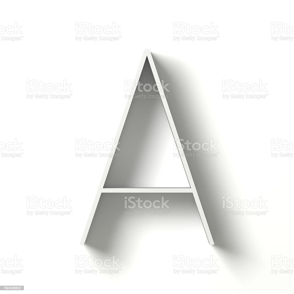 Long shadow font. Letter A. 3D stock photo
