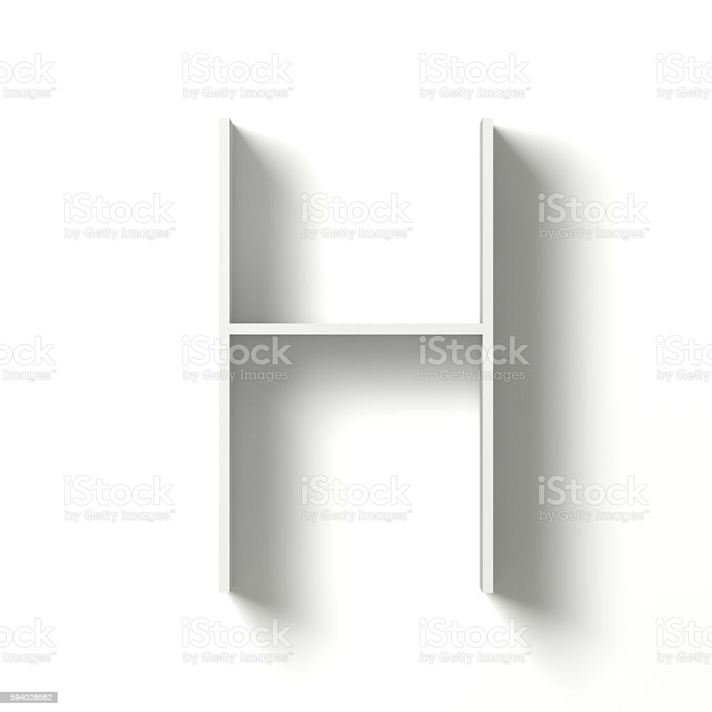 Long shadow font. Letter H. 3D stock photo