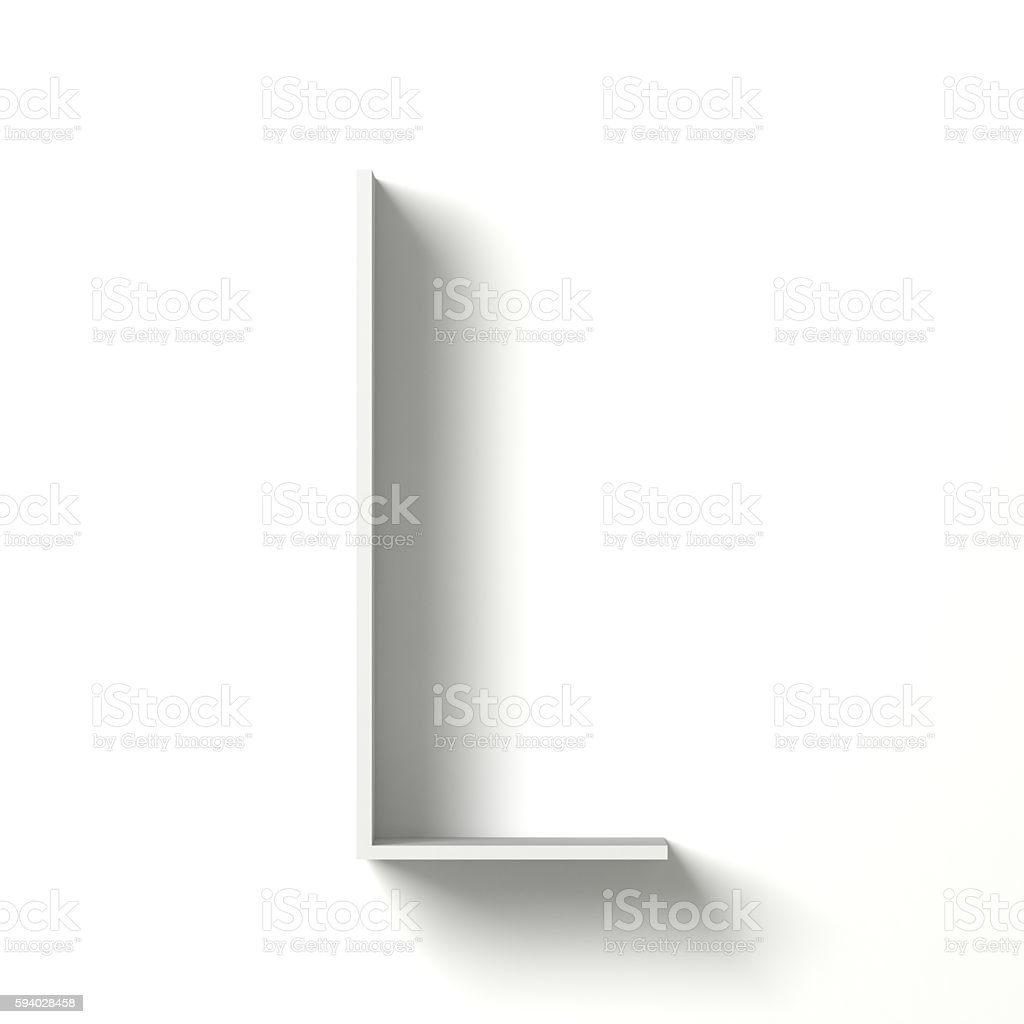 Long shadow font. Letter L. 3D stock photo