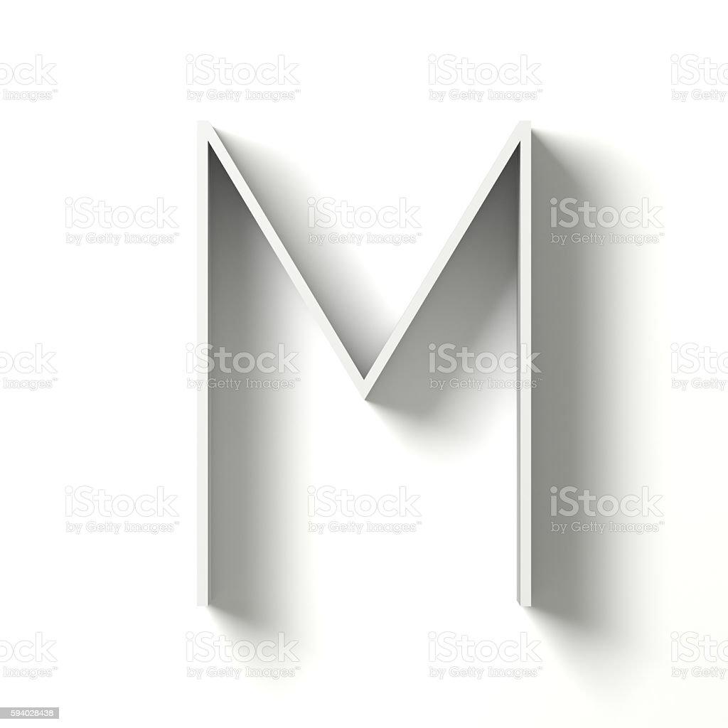 Long shadow font. Letter M. 3D stock photo