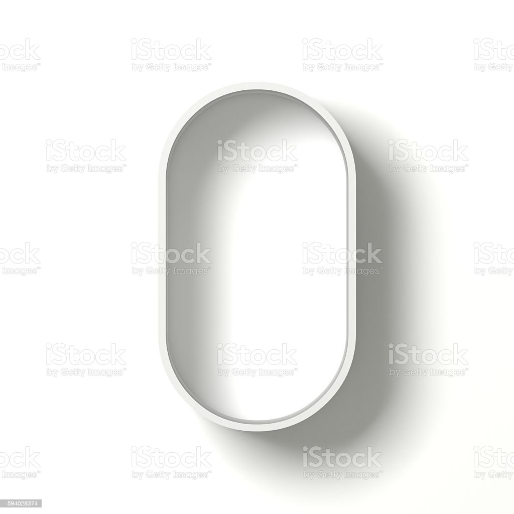 Long shadow font. Letter O. 3D stock photo