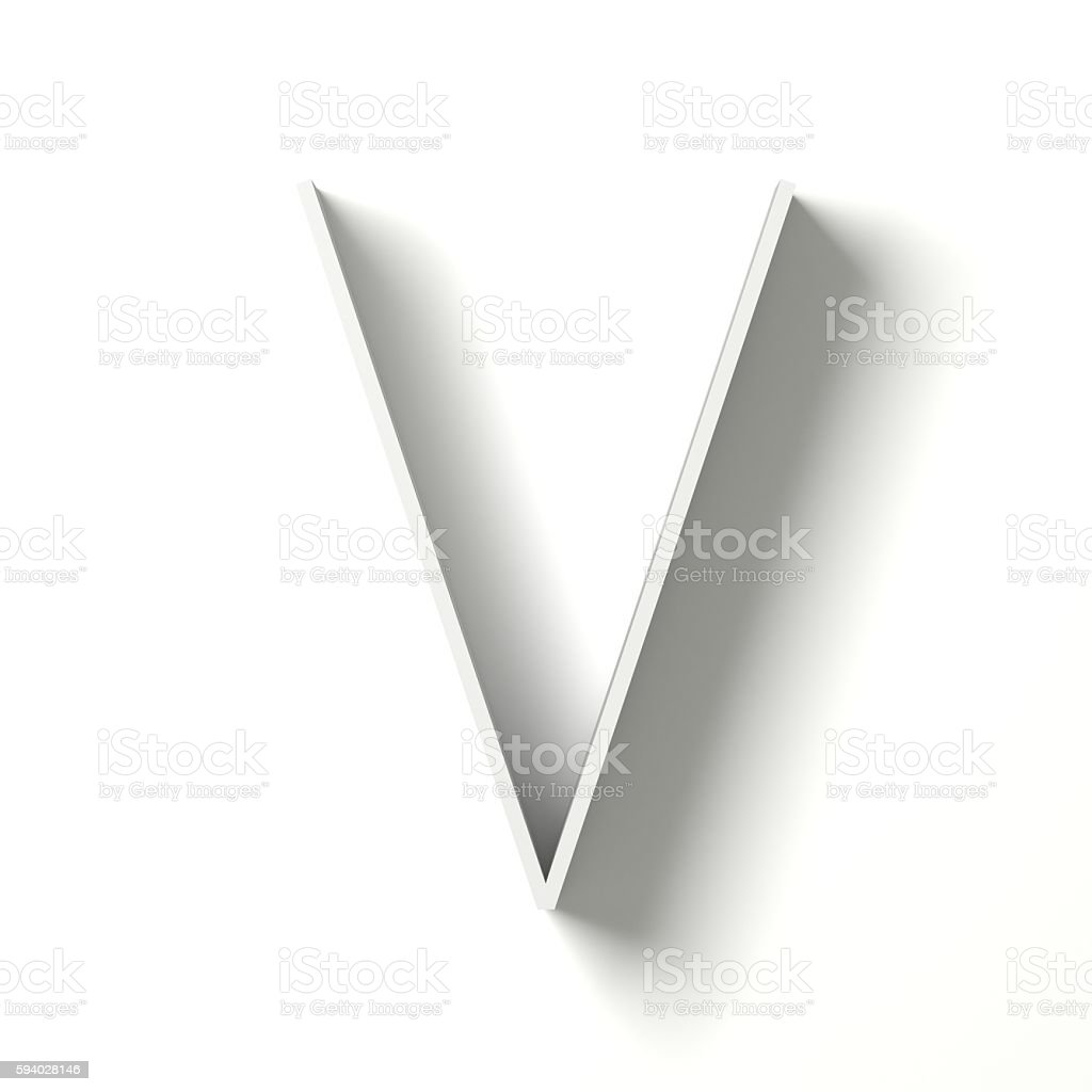 Long shadow font. Letter V. 3D stock photo