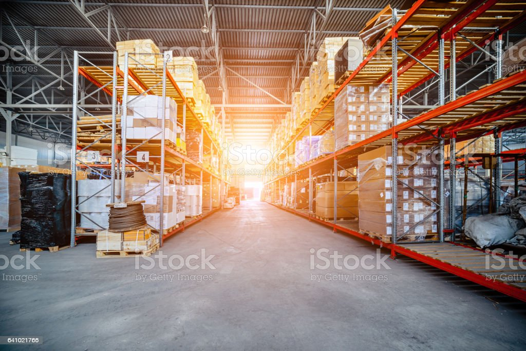 Warehouse industrial and logistics companies. Long shelves with a...