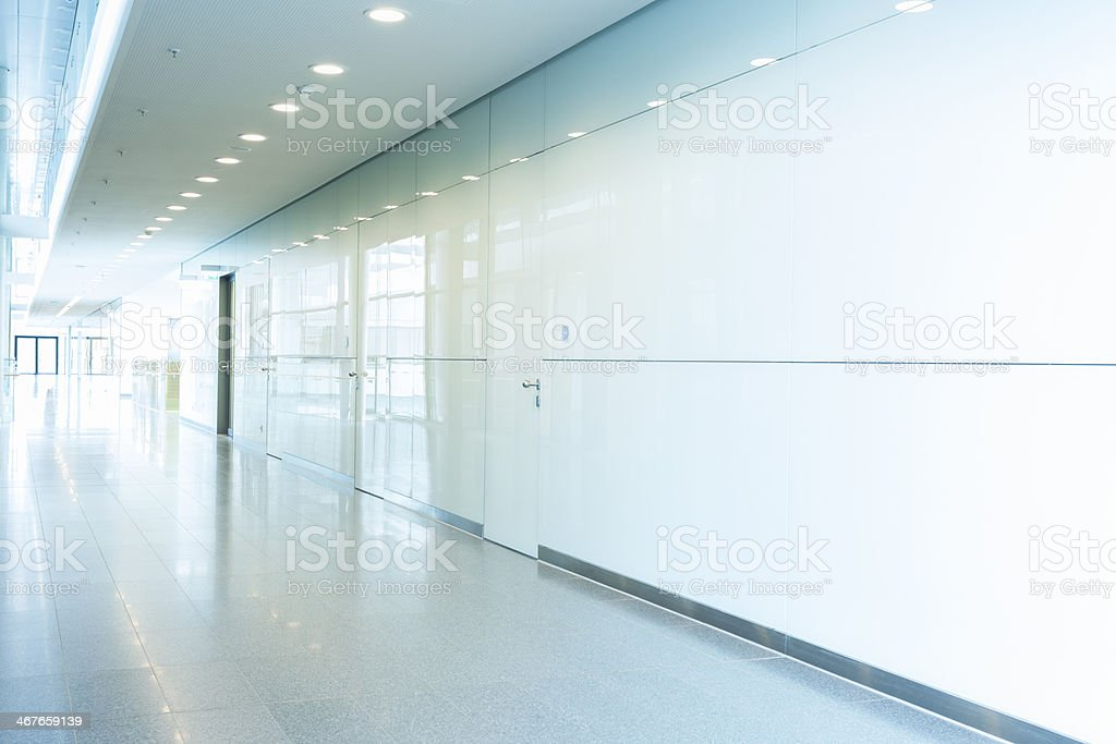Long Shiny Glass Corridor stock photo